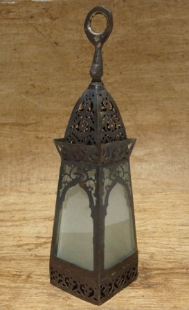 Morrocan Candle Lantern Antique Look metal and glass