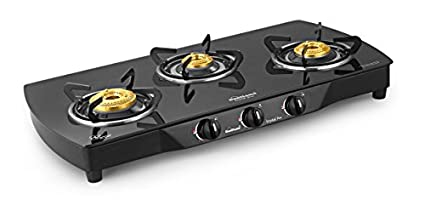 Sunflame Crystal Plus 3B-BK AI 3 Burner Gas Cooktop