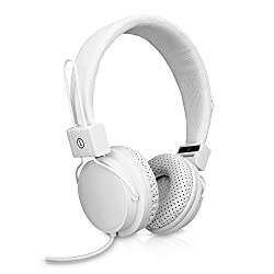 V7 Lightweight Stereo Headset With Adjustable Headband and Microphone for Music Streaming and Hands-Free calling on Smart Phones, Tablets (HS2000-35-WHT-9NC) - White