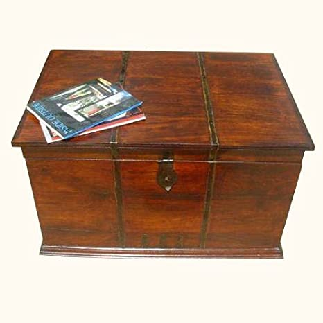 Primitive Iron Work Wood Kokanee Storage Trunk Box Sofa Table