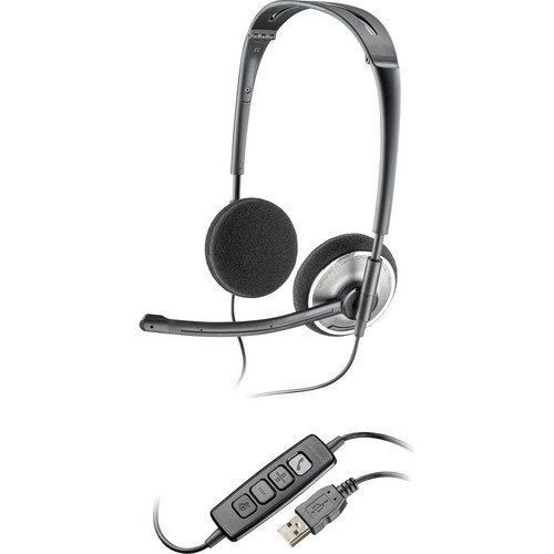 Plantronics Lightweight Stereo Usb Noise-Cancelling Headset With Boom Microphone & In-Line Volume & Mic Controls