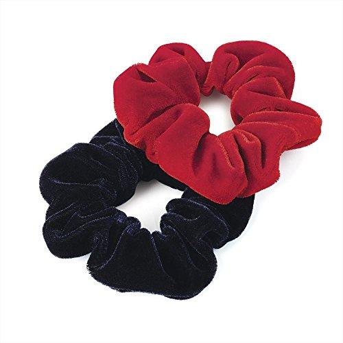 2 pièces Rouge et Noir en Velours aspect cheveux scrunches élastiques bandeaux pour cheveux