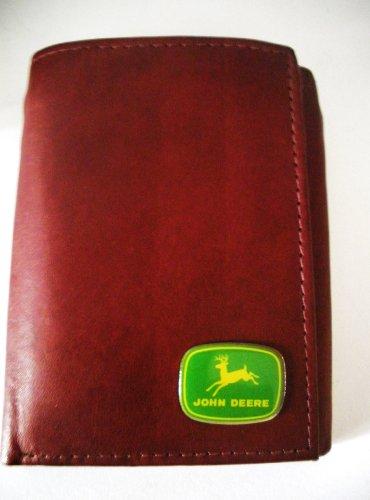 John Deere Men'S Brown Cowhide Tri-Fold Italian Leather Wallet