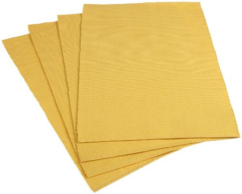 Mahogany Solid-Color 100-Percent Cotton Ribbed Placemat, 13-Inch by 19-Inch, Sunshine Yellow, Set of 4