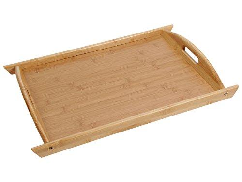 Plateau en bois de bambou en forme pétrin avec poignées pour petit déjeuné au lit ou servir l'apéritif et les amuses bouches Extrêmement robuste et très esthétique pour le plaisir des yeux, choisir:45 x 31.5 x 2 cm Tablett-03
