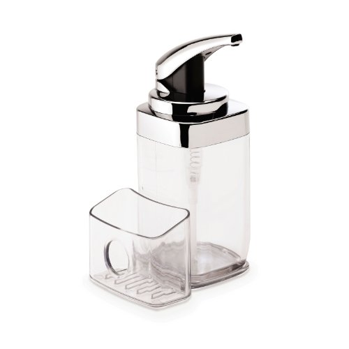 simplehuman clear square push soap dispenser with removable sponge caddy, 5 year warranty