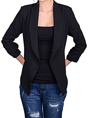 Auliné Collection Women's Lined Flowy Open Closure Color Casual Blazer