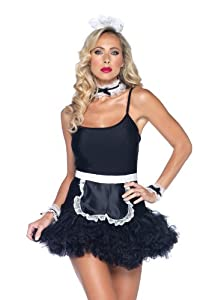 Leg Avenue 4 Piece French Maid Apron Neck Piece Wrist Cuffs And Headband Kit, Black/White, One Size