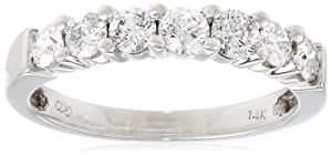 14k White Gold 7-Stone Diamond Ring (3/4 cttw, H-I Color, I1-I2 Clarity), Size 5