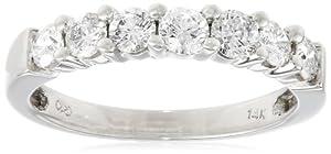 14k White Gold 7-Stone Diamond Ring (3/4 cttw, H-I Color, I1-I2 Clarity), Size 5