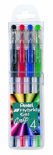 Pentel K116-4 Hybrid K118 - Bolígrafo roller de gel, 0,3 mm, 4 unidades
