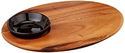 Ironwood Gourmet, Acacia Wood, 12-inch by 9.5-inch by .5-inch Bread Board with Dipping Bowl