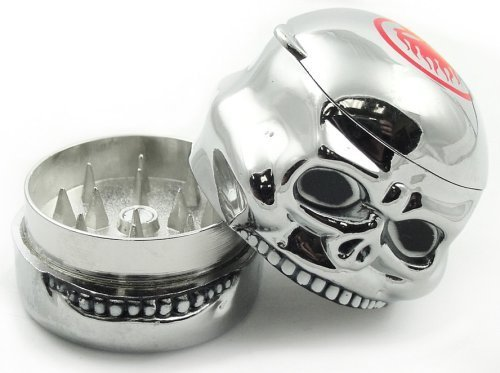 Novelty Island Chrome Skull Herb Grinder with Storage Compartment #8