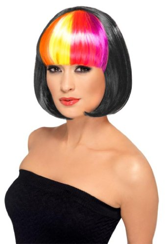 Smiffy'S Partyrama Wig Black With Rainbow Fringe, Multi, One Size