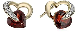 10k Yellow Gold Heart Garnet Diamond Earrings (0.08 cttw, I-J Color, I2-I3 Clarity)