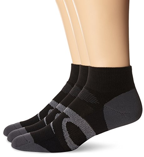 ASICS Intensity Quarter Socks (3-Pack), Large, Black Assorted