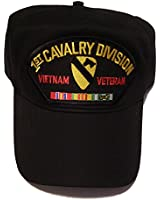 1ST CAVALRY DIVISION VIETNAM VETERAN HAT with ribbons 1st CAV crest cap - BLACK - Veteran Owned Business