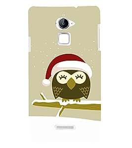 Cute Owl with Santa Cap 3D Hard Polycarbonate Designer Back Case Cover for Coolpad Note 3 Lite :: Coolpad Note 3 Lite Dual SIM
