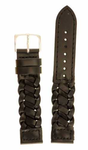 Men's Braided Italian Leather Watchband - Color Black Size: 20mm Watch Strap