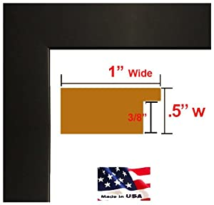 12x36 Custom Flat Black Satin Picture Poster & Photo frame Wood Composite MDF ONE inch Moulding