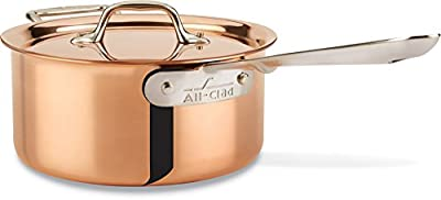 All-Clad CD203 C2 COPPER CLAD Sauce Pan with Lid with Bonded Copper Exterior Cookware, 3-Quart, Copper
