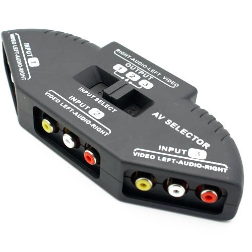 Cable N Wireless 3 Way Audio Video Av Rca Composite Switch Selector Box Splitter For Xbox Xbox360 Dvd Ps2 Ps3 With Av Cable (Black, Us Seller)