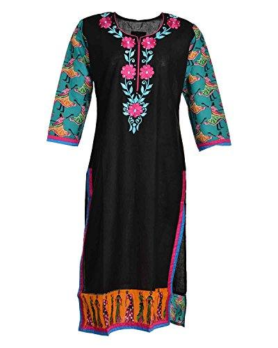 Global Women's Cotton Straight Kurta (GW52Black44015, Black, 44)