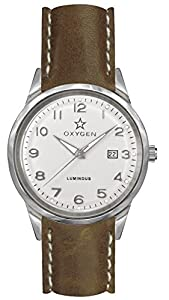Oxygen Fjord 40 Unisex Quartz Watch with White Dial Analogue Display and Brown Leather Strap EX-SV-FJO-40-CL-LB