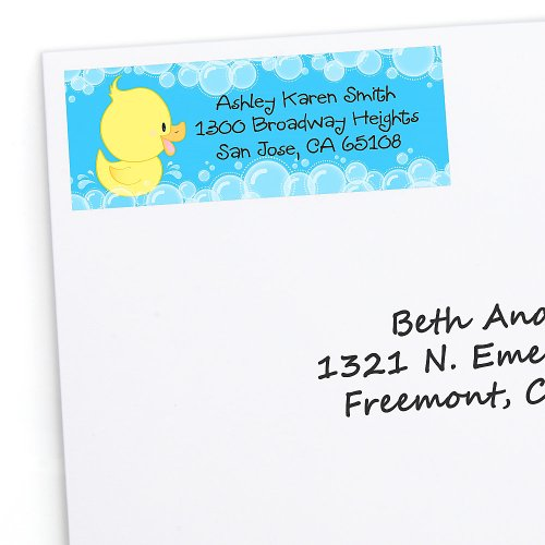 Ducky Duck - 30 Personalized Baby Shower Return Address Labels