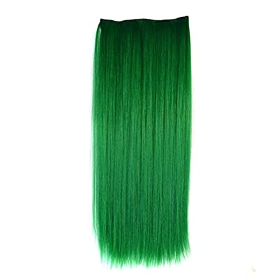 Stepupgirl Hair Extension, 24 Inch Grass Green Color Straight Full Head Synthetic Clip in Wig