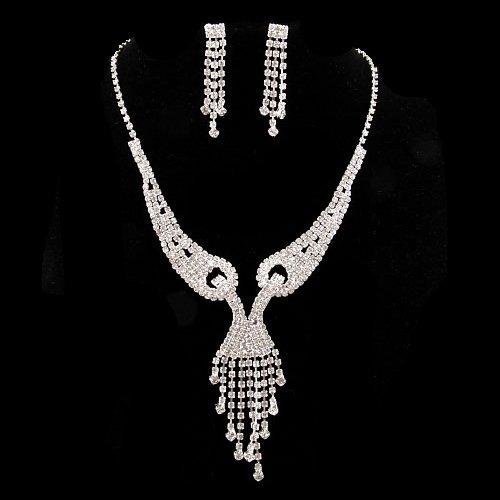 Bridal Wedding Jewelry Set Necklace Earring Crystal Rhinestone Beautiful Silver