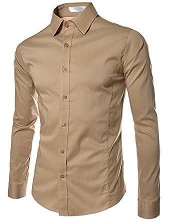 (STL) Mens casual slim fit basic dress shirts BEIGE Small(US X-Small)