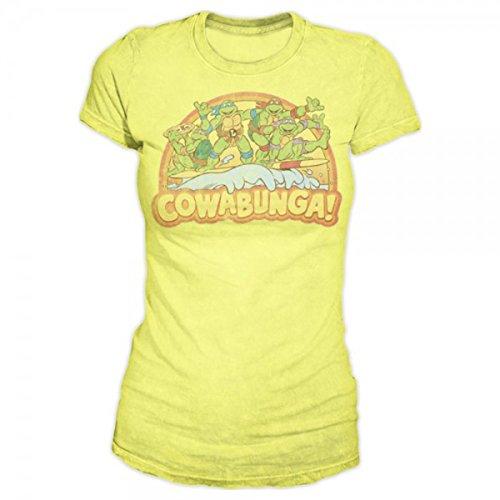 Teenage Mutant Ninja Turtles Cowabunga Juniors Yellow T-Shirt | XL (Yellow Ninja Turtle Shirt compare prices)