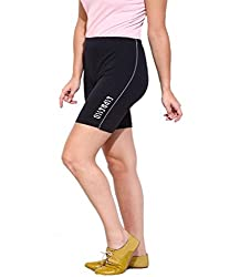 Espresso Solid Women's Basic Shorts-BLACK