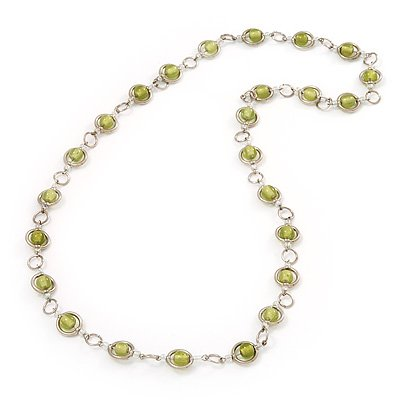 Pale Green Glass Bead Necklace In Silver Plated Metal - 72cm Length
