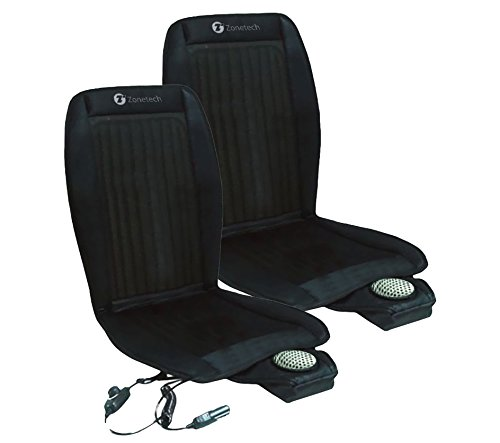 Zone Tech Cooling Car Seat Cushion - 2-Pack Black 12V Automotive Adjustable Temperature Comfortable Cooling Car Seat Cushion (Cooled Seat Covers For Cars compare prices)