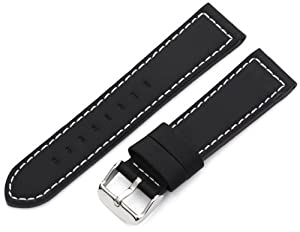 Hadley-Roma Men's MSM740RA 220 22-mm Black Silicone Layered Leather Watch Strap
