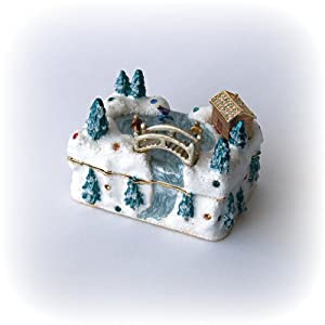 Ice Skating Scene Box Swarovski Crystals Jewelry, Trinket or Pill Box figurine