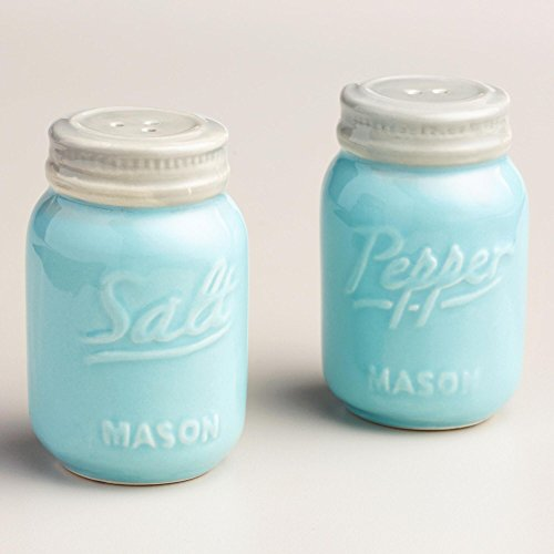 Blue Mason Jar Salt and Pepper Shakers (Baby Blue Mason Jars compare prices)