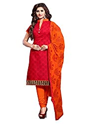 Zombom Red Chanderi Cotton Embroidered Un-stitched Salwar Suit