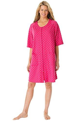 Dreams & Co. Women's Plus Size Short French Terry Robe Sweetberry Dot,2X (Womens Plus Size Robes)