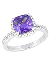 Pure 925 Sterling Silver Simulated Diamonds Amethyst Colour Solitaire Ring