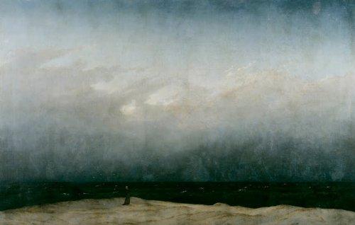 Quadro + telaio monaco in riva al mare di caspar david friedrich 60x38x1,7cm falso d'autore stampa su tela