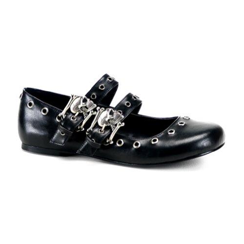 Cute Ballet Flat Shoes Mary Jane Style Gothic Shoes Skull Crossbones Eyelet Detail Size 8