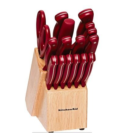 KitchenAid 17-pc. Red Stamped Triple Rivet Cutlery Set (Kitchenaid Knife Set With Block compare prices)