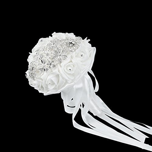 VLoveLife Luxurious White Wedding Bridal Bouquet Advanced Bridal Bridesmaid Bouquets Artificial Rose Flower Posy With Rhinestone Diamonte Metal Satin Ribbon Decor