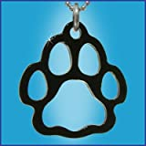 "16"" Silver Ball Chain Necklace with 2"" Extension Chain with Black Outline Bear Paw Pendant."