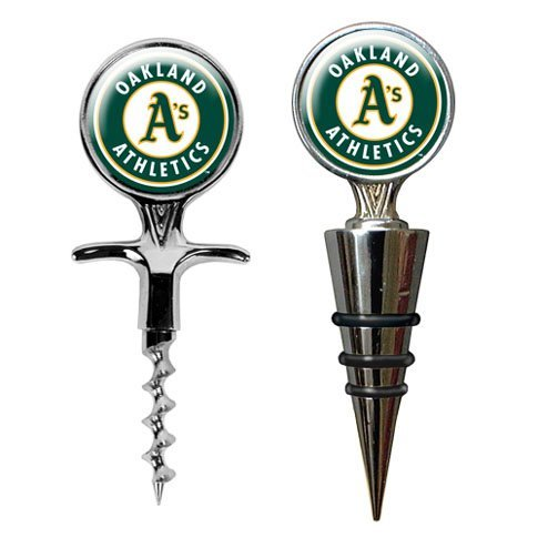 Mlb Oakland Athletics Stainless Steel Cork Screw And Wine Bottle Topper Set back-612811