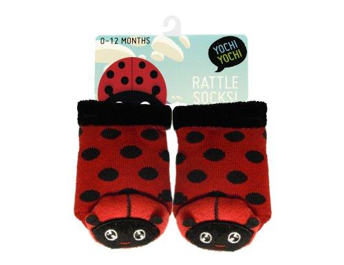 Yochiyochi Miss Mushi Ladybug Baby Socks With Toe Rattle