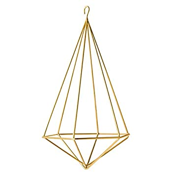 SODIAL Hanging Air Plant Holder Modern Geometric Planter with Chain Tillandsia Container Himmeli Wall Decor, Gold